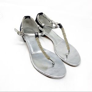 CHANEL silver thong sandals 37.5